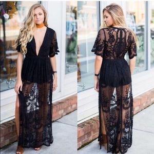 Brand new black lace romper dress